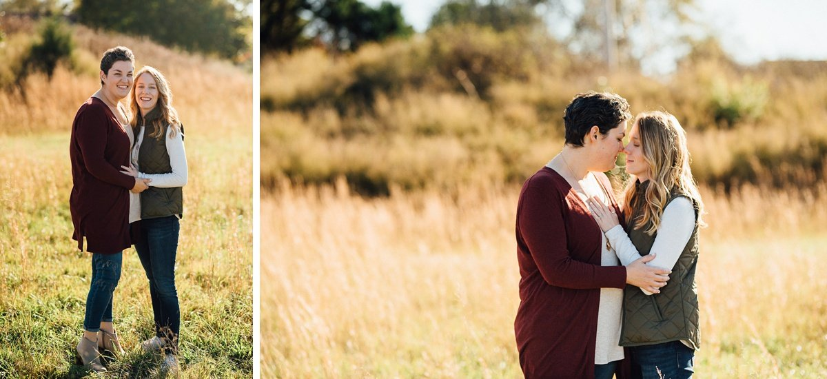 engagement-photos-in-field Hot Air Balloon Proposal