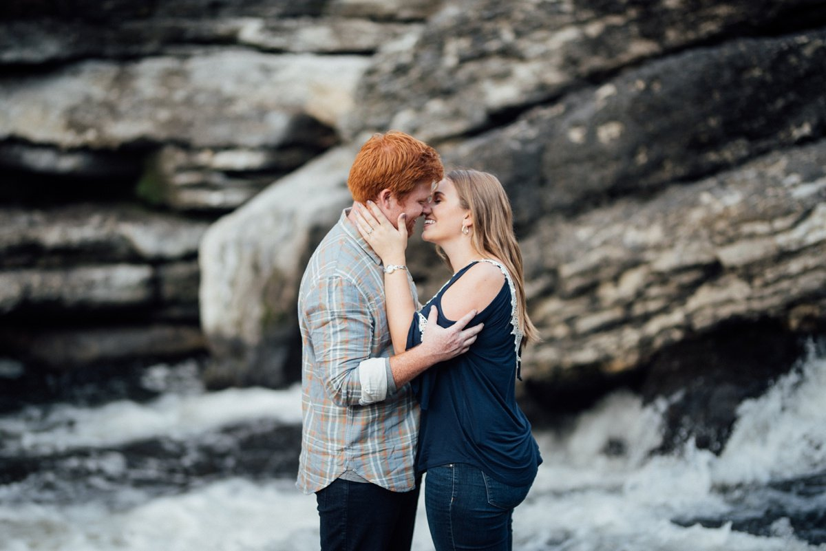 epic-kiss Rock Island Waterfall Engagement Session