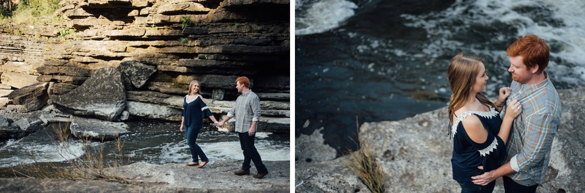 hiking-engagement Rock Island Waterfall Engagement Session