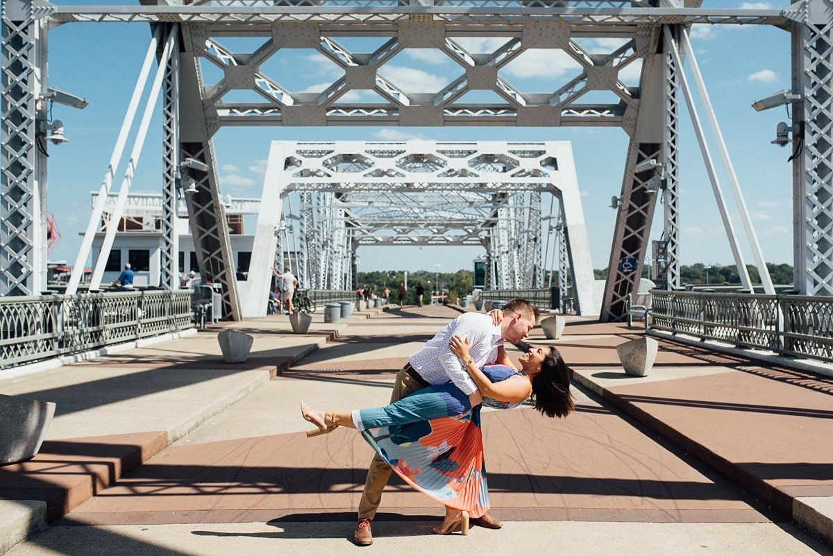 john-pedestrian-bridge-nashville-couple Downtown Nashville Engagement Session