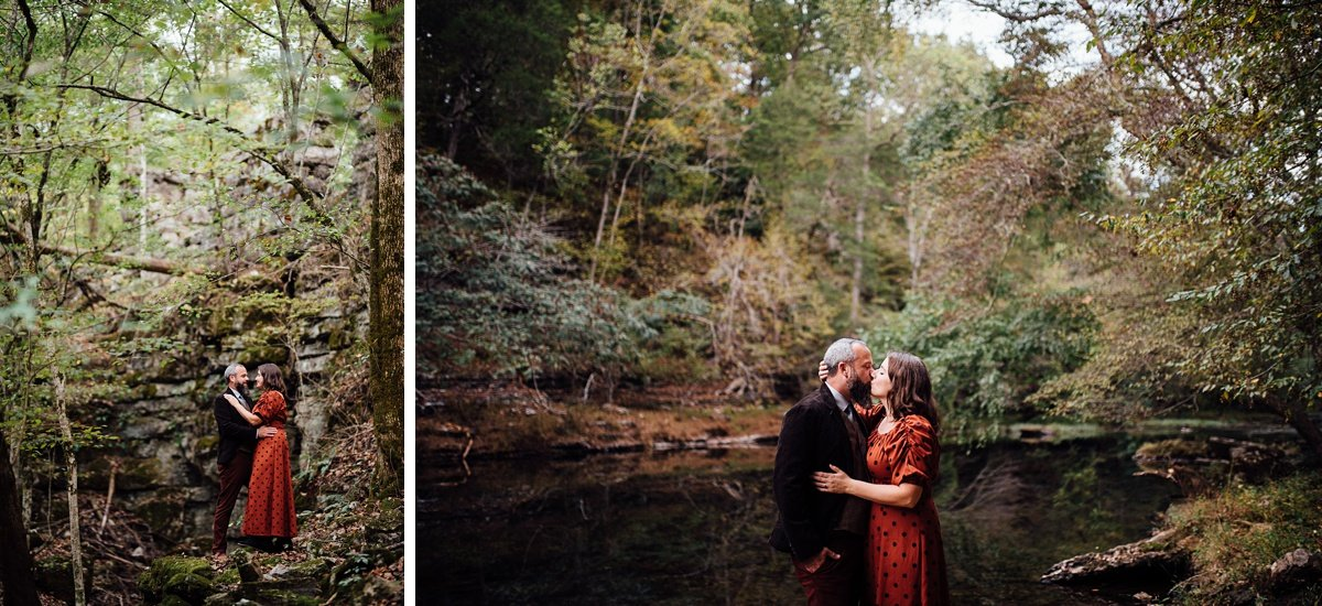 kiss-in-the-woods Woods and Waterfalls Engagement Session