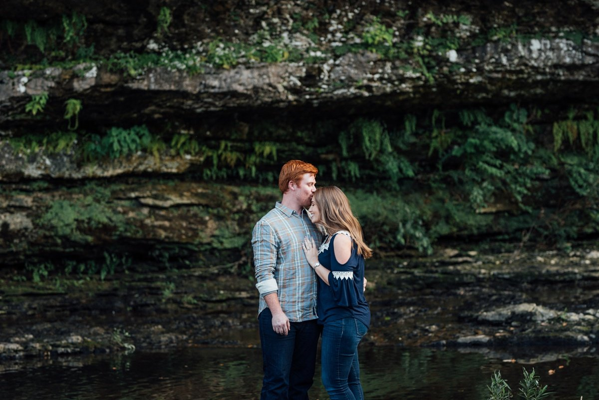 kiss-on-forehead Rock Island Waterfall Engagement Session