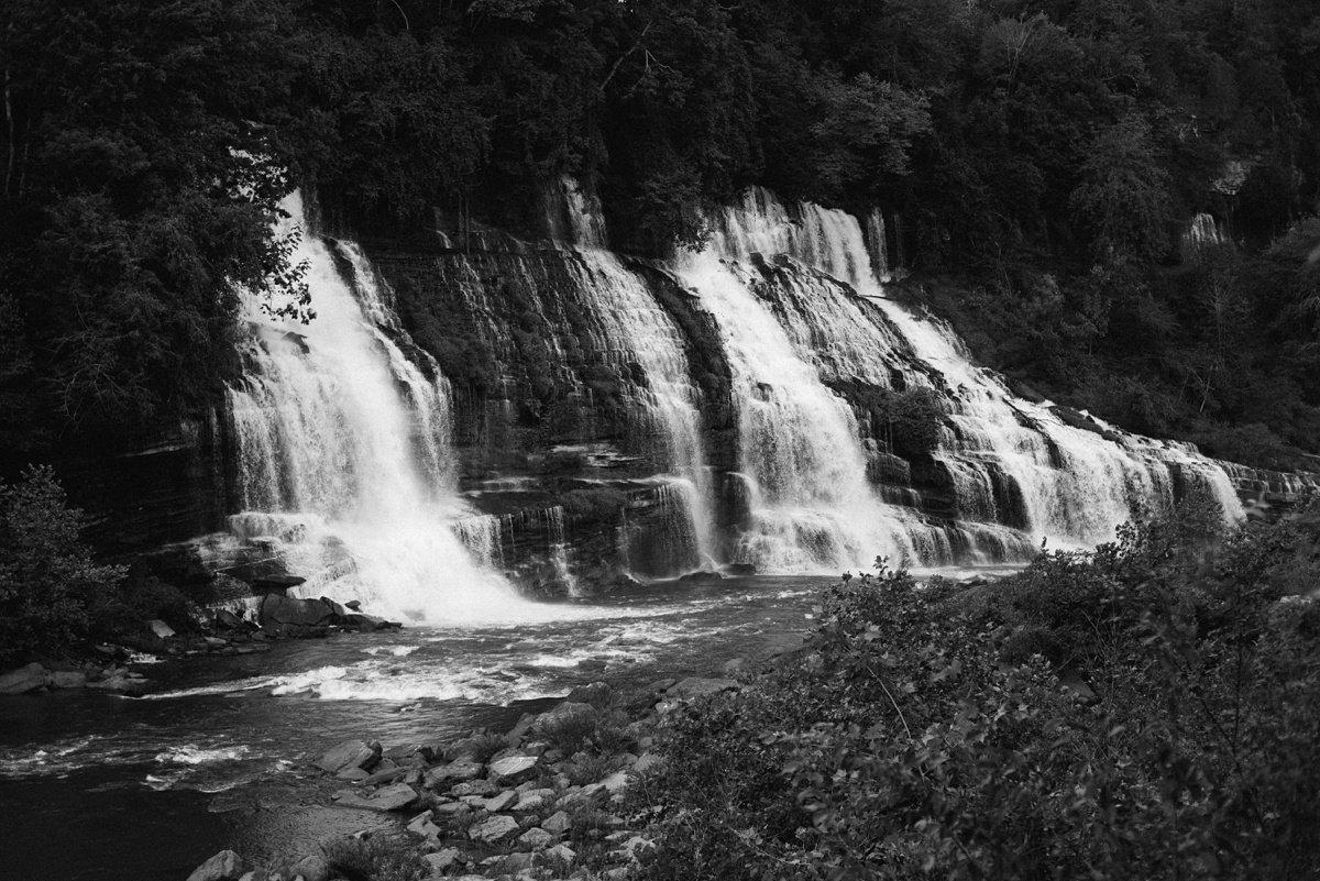 nashville-waterfalls Rock Island Waterfall Engagement Session