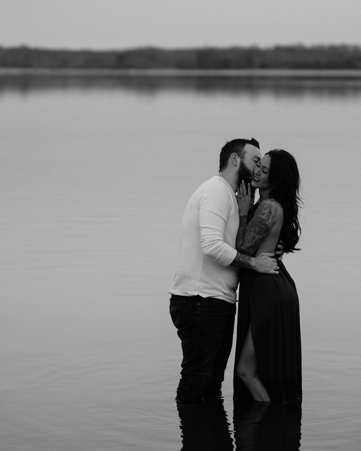 black-and-white-lake-kiss Nashville Couple Photography