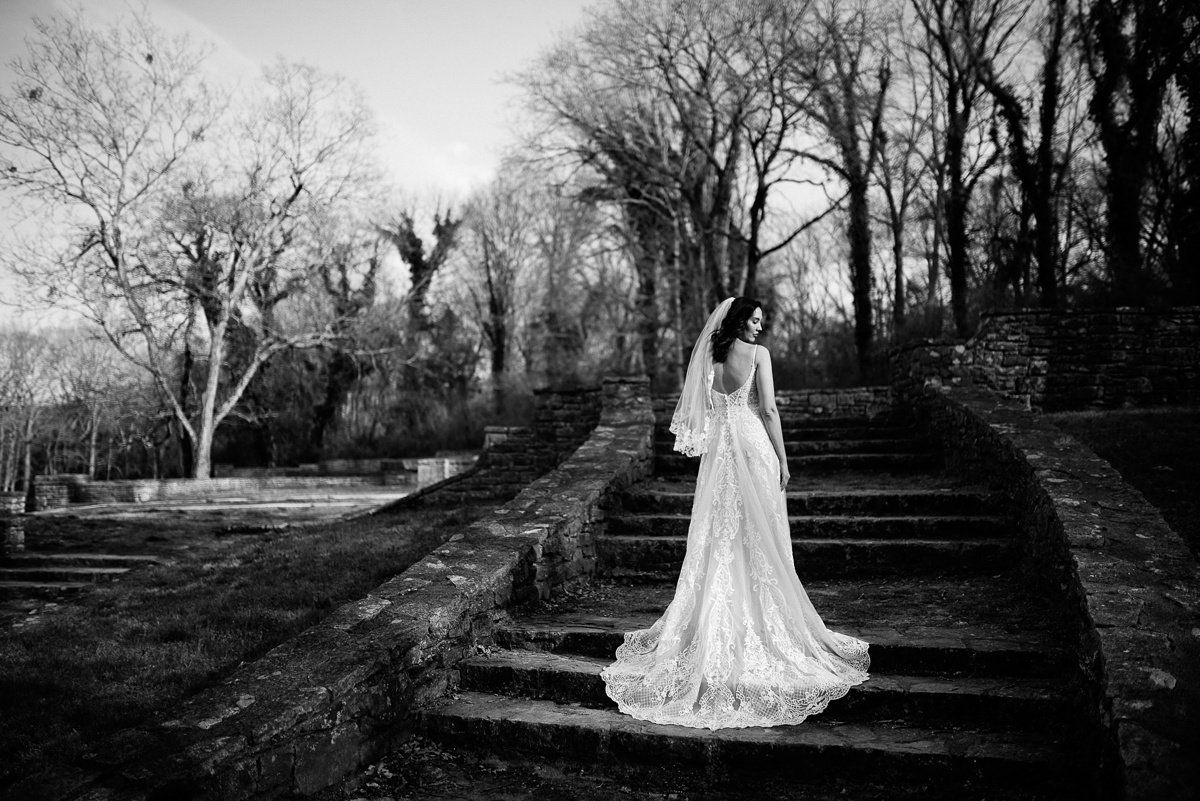 black-and-white-bridal-portrait Greenhouse and Percy Warner Bridal Session