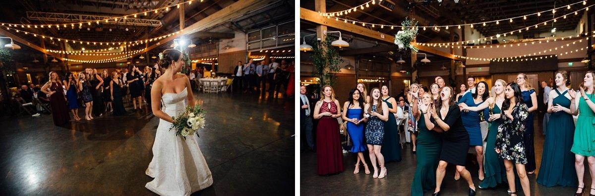 bouquet-toss-epic Christ The King Wedding | Loveless Barn | Nina + Evan