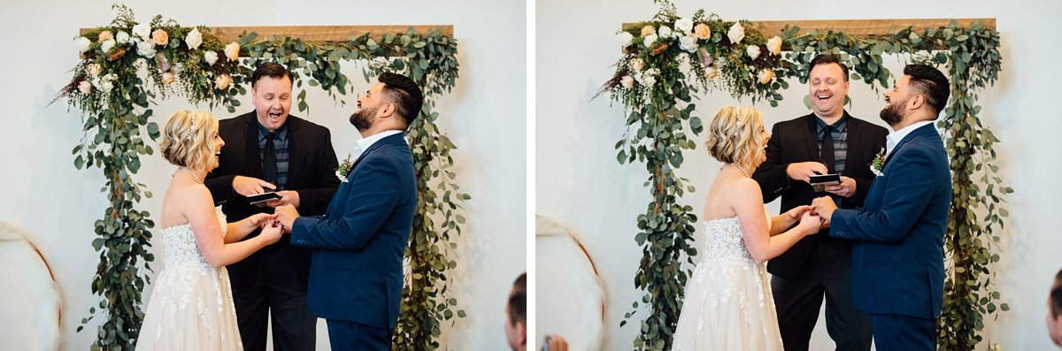 bride-groom-laughing White Avenue Studio Wedding | Katie + Ken