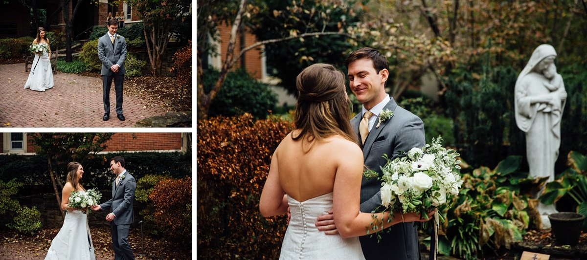 first-look-beautiful Christ The King Wedding | Loveless Barn | Nina + Evan