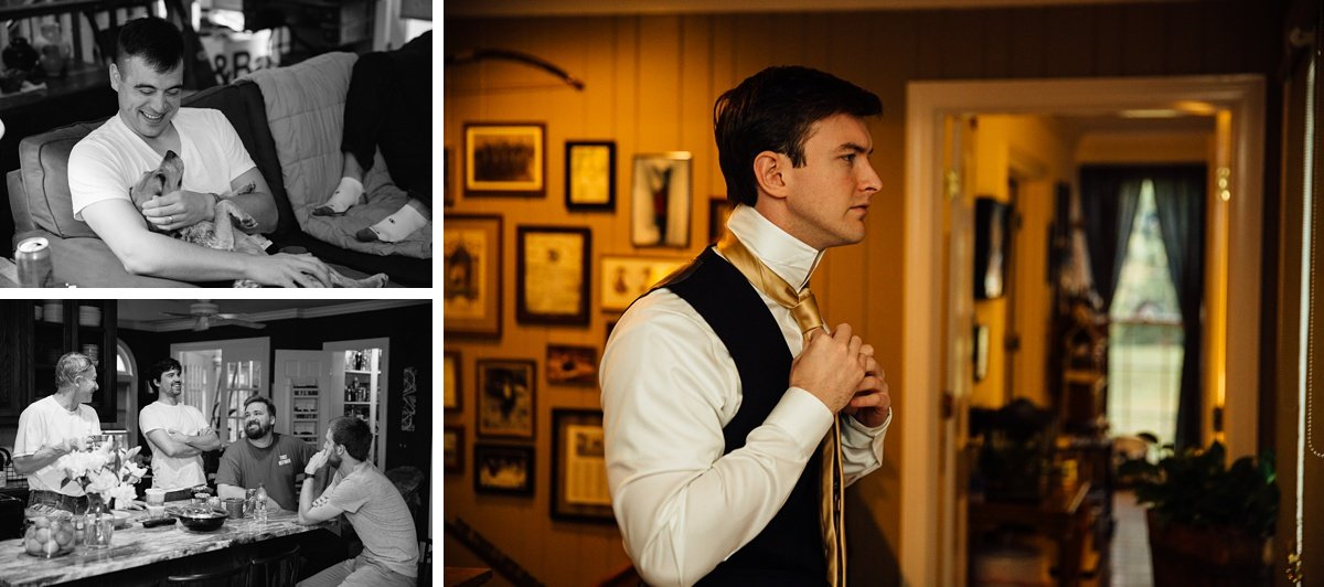 groom-getting-ready-dog Christ The King Wedding | Loveless Barn | Nina + Evan
