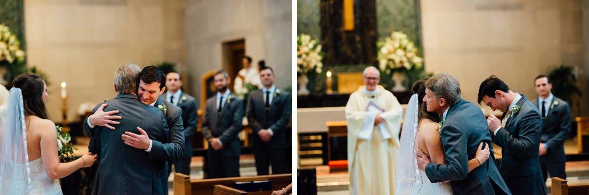 groom-hugging-father-bride Christ The King Wedding | Loveless Barn | Nina + Evan