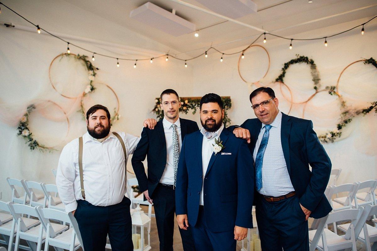 groom-with-friends White Avenue Studio Wedding   Katie + Ken