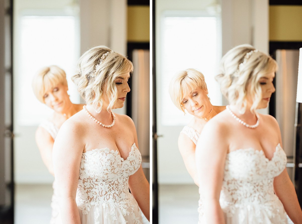 mom-helping-daughter-dress White Avenue Studio Wedding | Katie + Ken