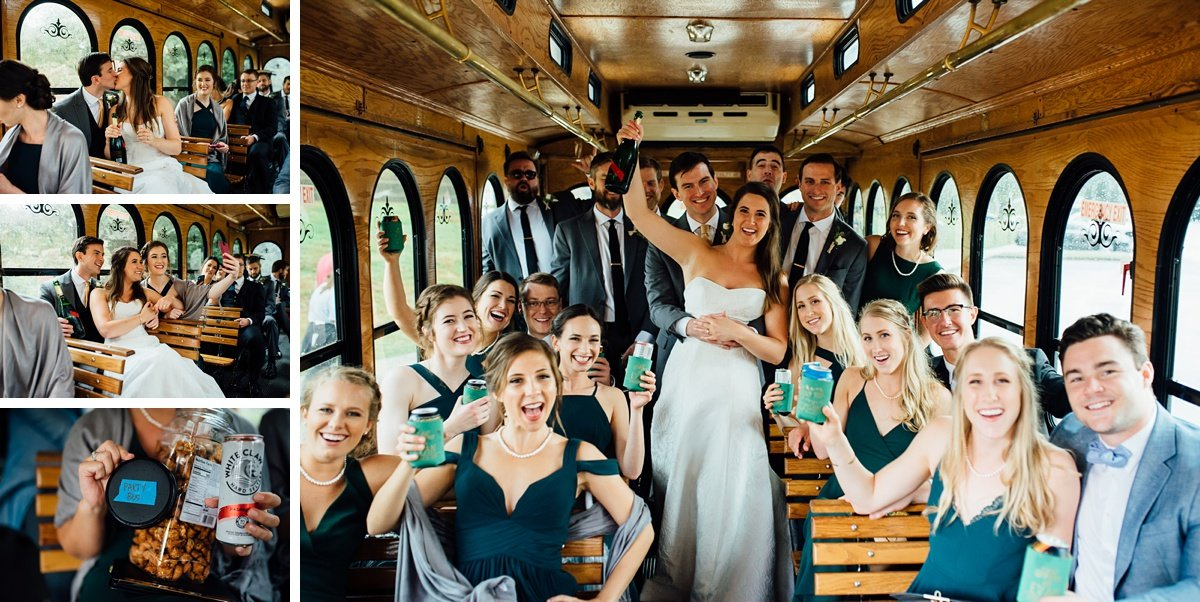 party-bus-wedding-nashville Christ The King Wedding | Loveless Barn | Nina + Evan