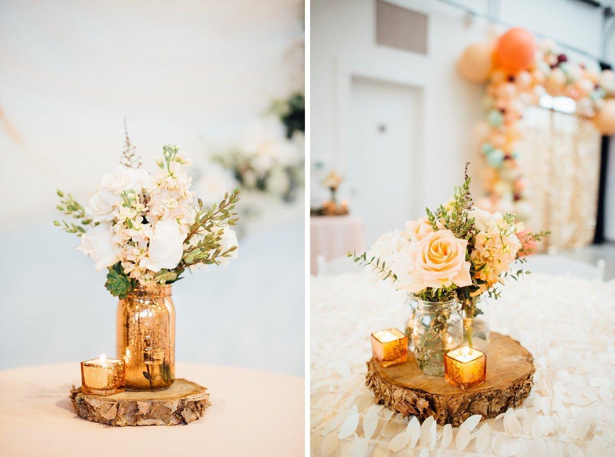 wedding-centerpiece-gold White Avenue Studio Wedding   Katie + Ken