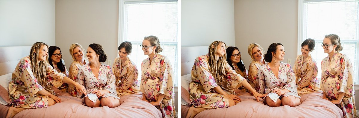 bride-bridesmaids-on-bed Old Glory Distilling Co Wedding | Clarksville, TN | Matt + Shannon