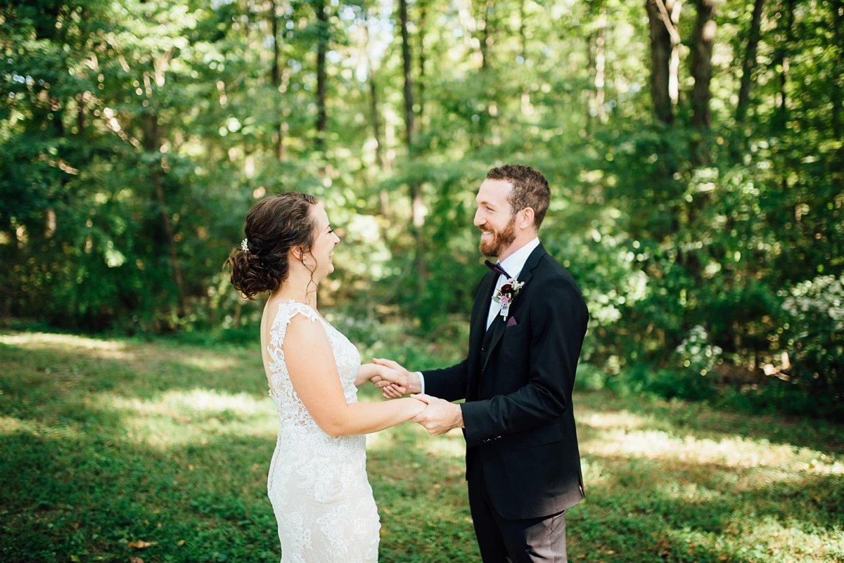 bride-groom-first-look Old Glory Distilling Co Wedding   Clarksville, TN   Matt + Shannon