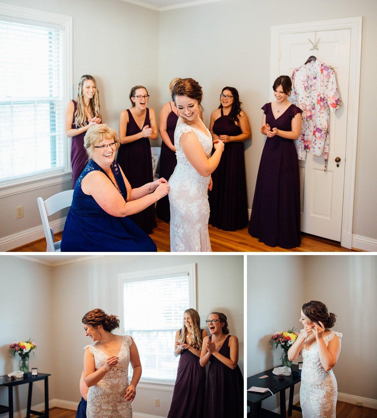 bridesmaids-watching-bride-get-dressed Old Glory Distilling Co Wedding   Clarksville, TN   Matt + Shannon