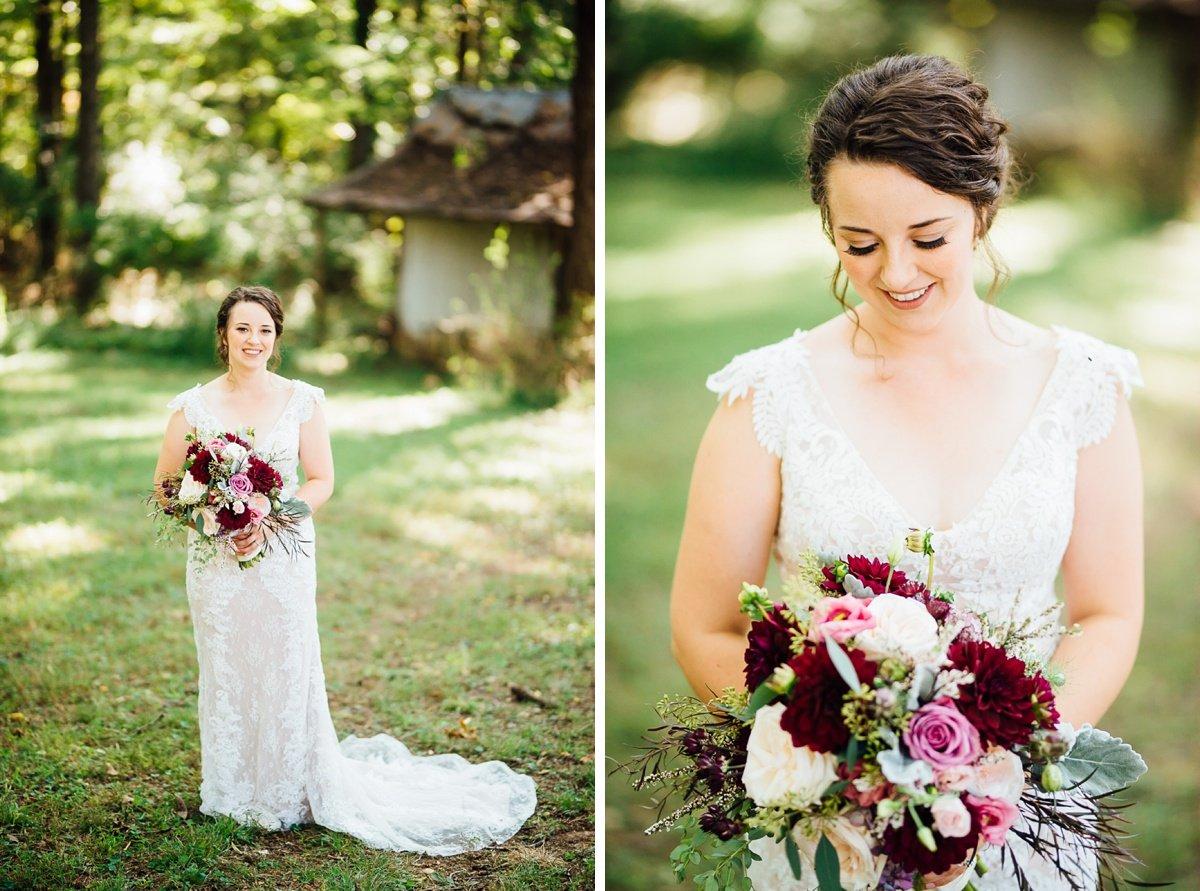 gorgeous-bride-purple-flowers Old Glory Distilling Co Wedding   Clarksville, TN   Matt + Shannon