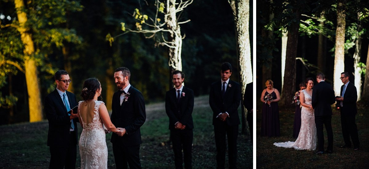 nighttime-wedding-ceremony Old Glory Distilling Co Wedding   Clarksville, TN   Matt + Shannon