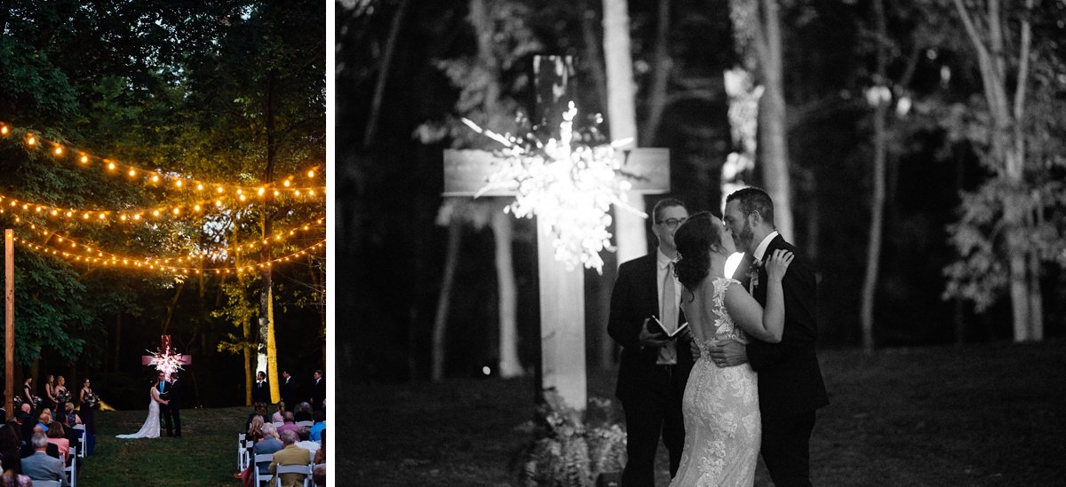 wedding-kiss-light-up-cross Old Glory Distilling Co Wedding | Clarksville, TN | Matt + Shannon