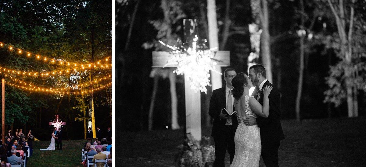 wedding-kiss-light-up-cross Old Glory Distilling Co Wedding   Clarksville, TN   Matt + Shannon