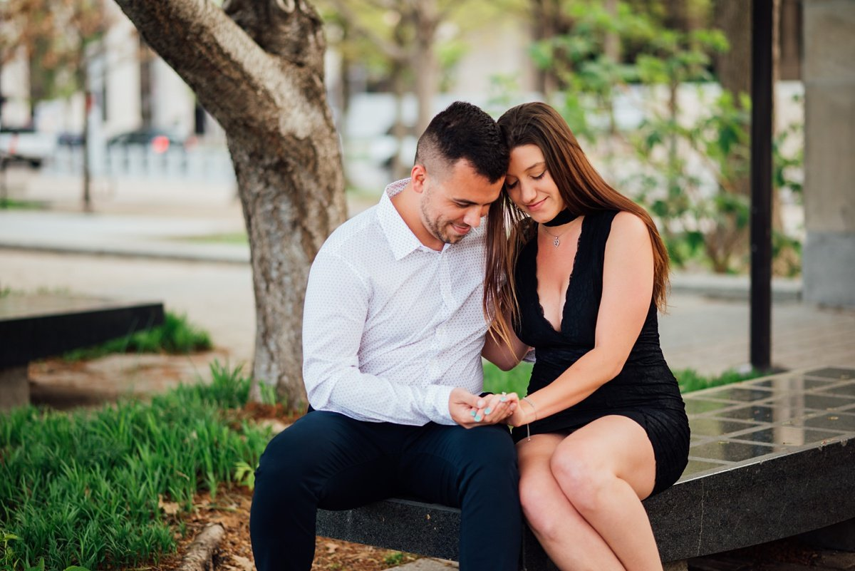 admiring-engagement-ring Jason and Alyssa Proposal | Downtown Nashville