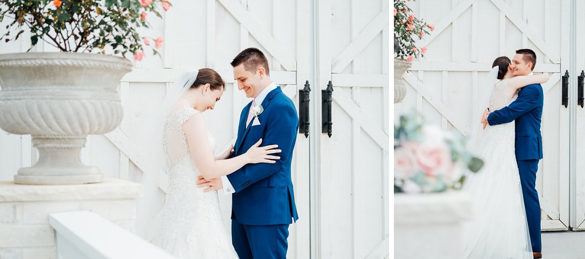 bride-groom-first-look Laura + Robert | White Dove Barn Wedding