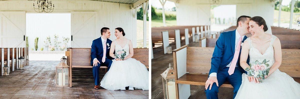 bride-groom-pew-photos Laura + Robert | White Dove Barn Wedding
