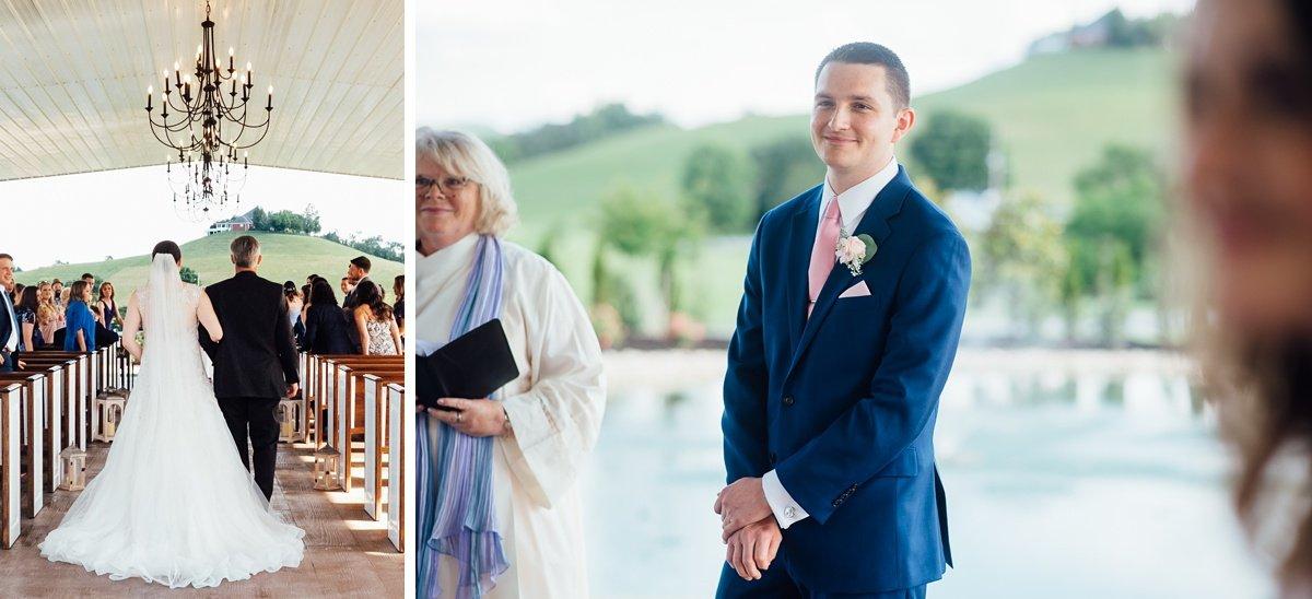 bride-walking-down Laura + Robert | White Dove Barn Wedding