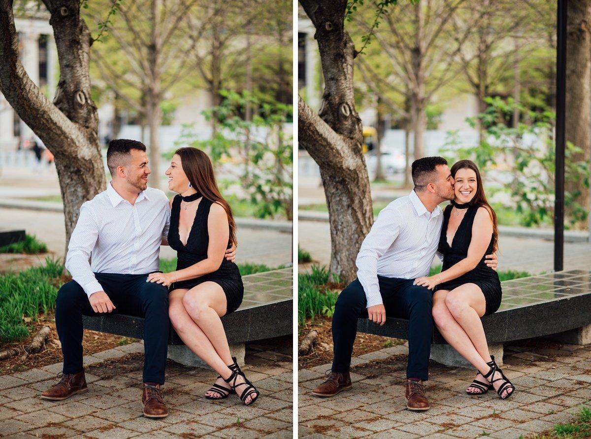 cheek-kiss Jason and Alyssa Proposal | Downtown Nashville