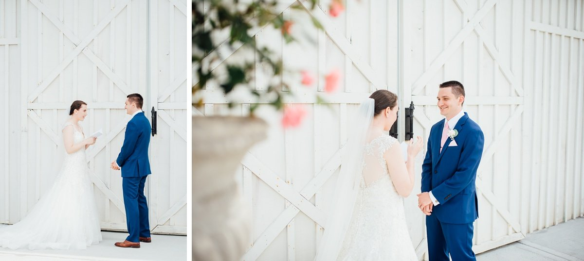 first-look-vows Laura + Robert | White Dove Barn Wedding