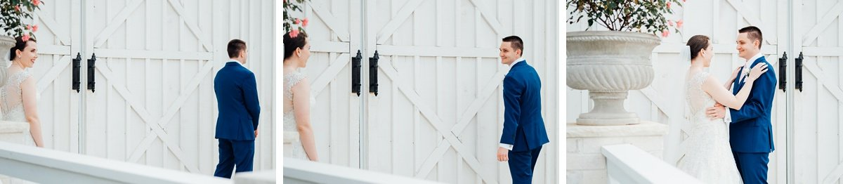 first-look Laura + Robert | White Dove Barn Wedding