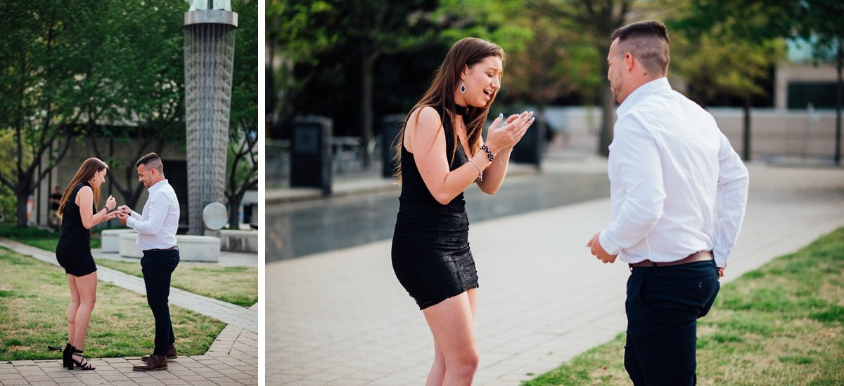 girl-surprised-by-proposal Jason and Alyssa Proposal   Downtown Nashville