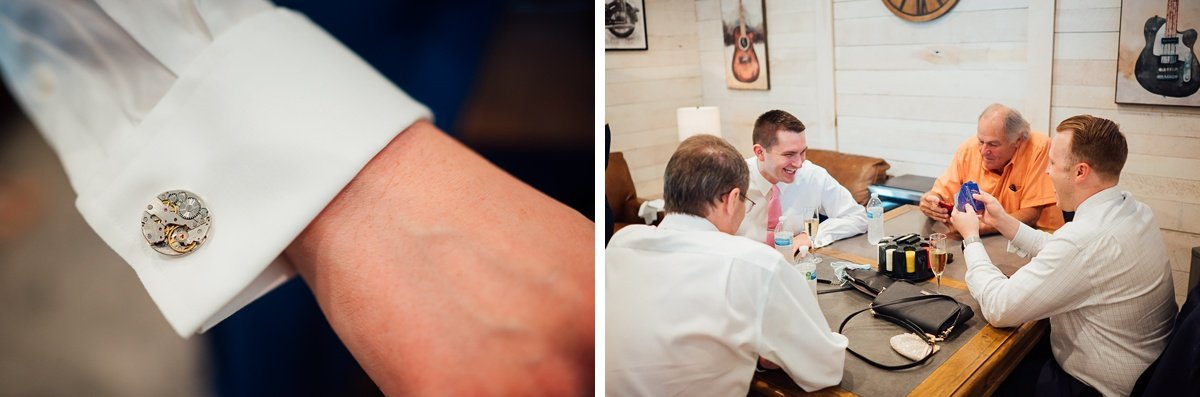 groom-details-poker-cufflinks Laura + Robert | White Dove Barn Wedding