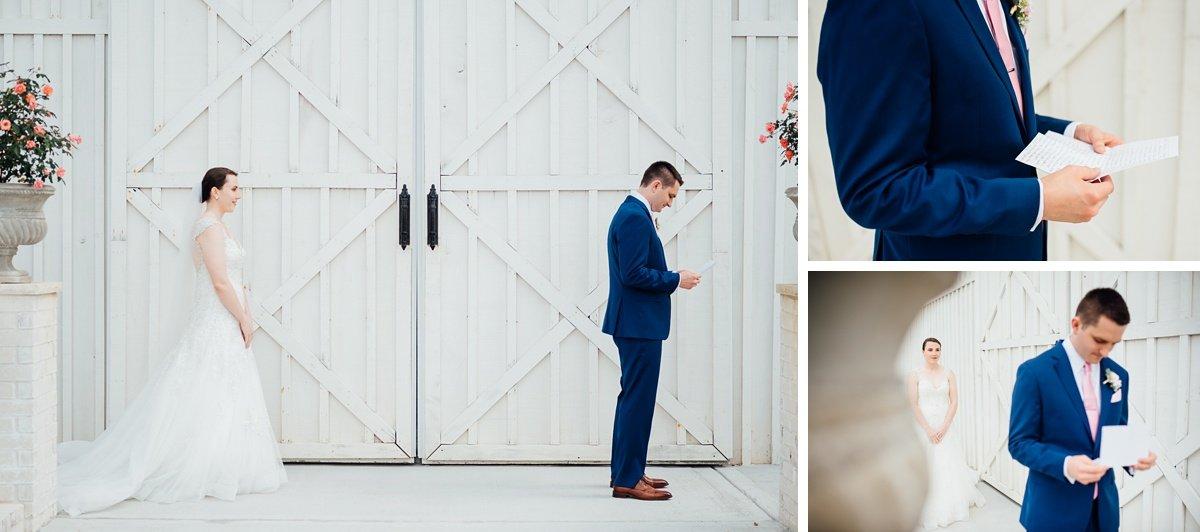 groom-reading-letter Laura + Robert | White Dove Barn Wedding
