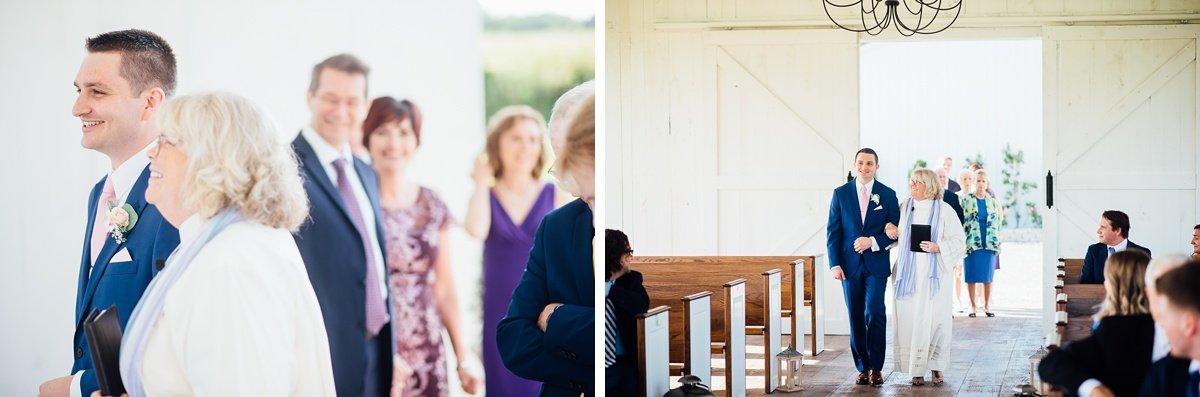 groom-walking-down-aisle Laura + Robert | White Dove Barn Wedding