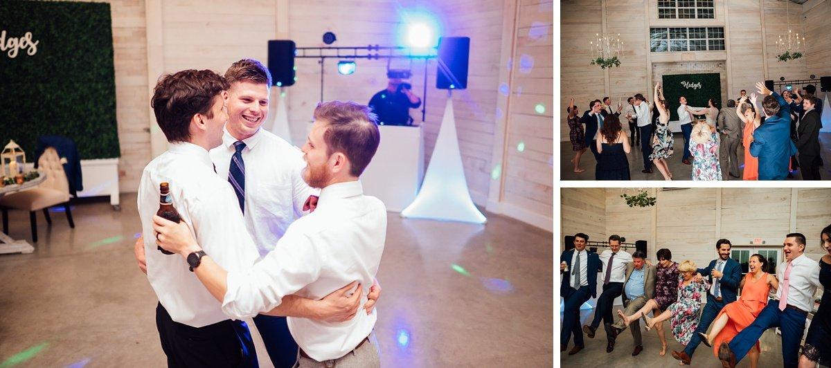 guys-on-dance-floor Laura + Robert | White Dove Barn Wedding