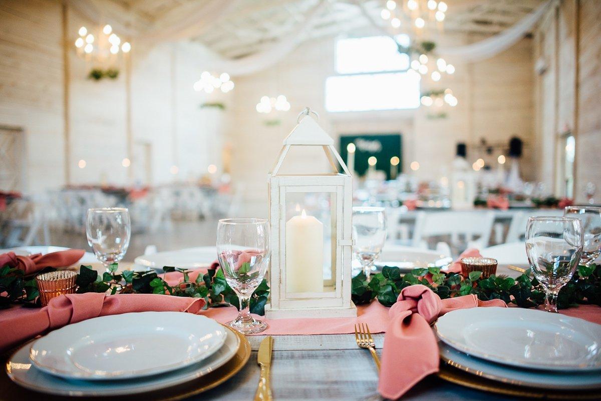 pink-reception Laura + Robert | White Dove Barn Wedding