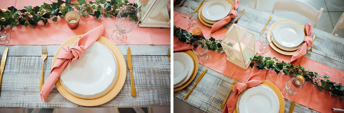reception-plates-runners Laura + Robert | White Dove Barn Wedding