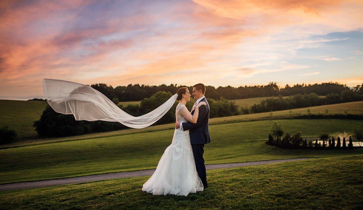veil-sunset-wedding-photo Laura + Robert | White Dove Barn Wedding