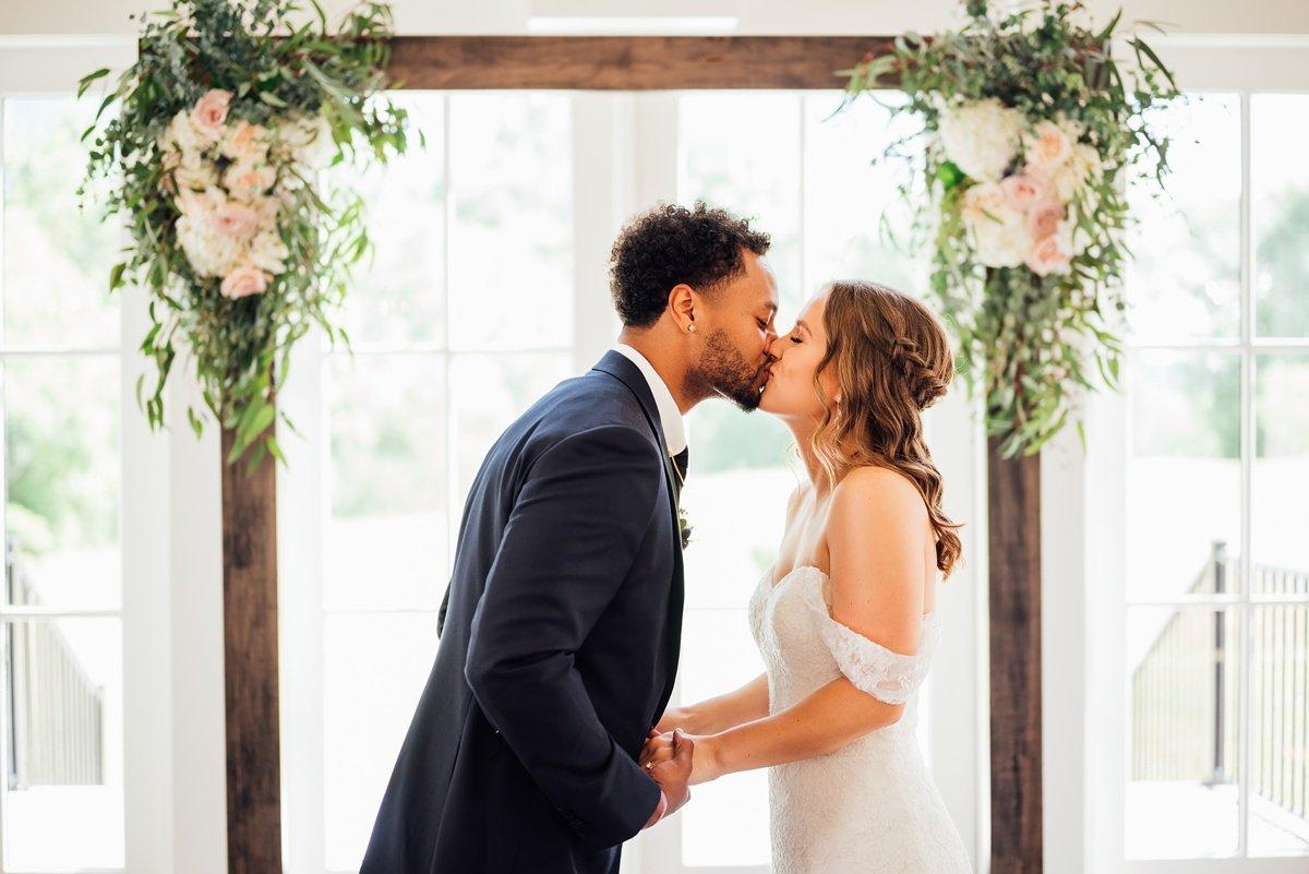 bride-groom-kissing Jessica + Jethro   The Venue at Birchwood   Spring Hill, TN