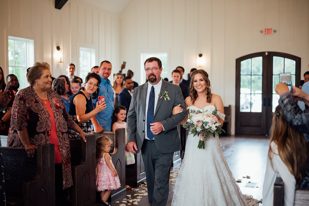 father-walking-daughter-down-aisle Jessica + Jethro   The Venue at Birchwood   Spring Hill, TN
