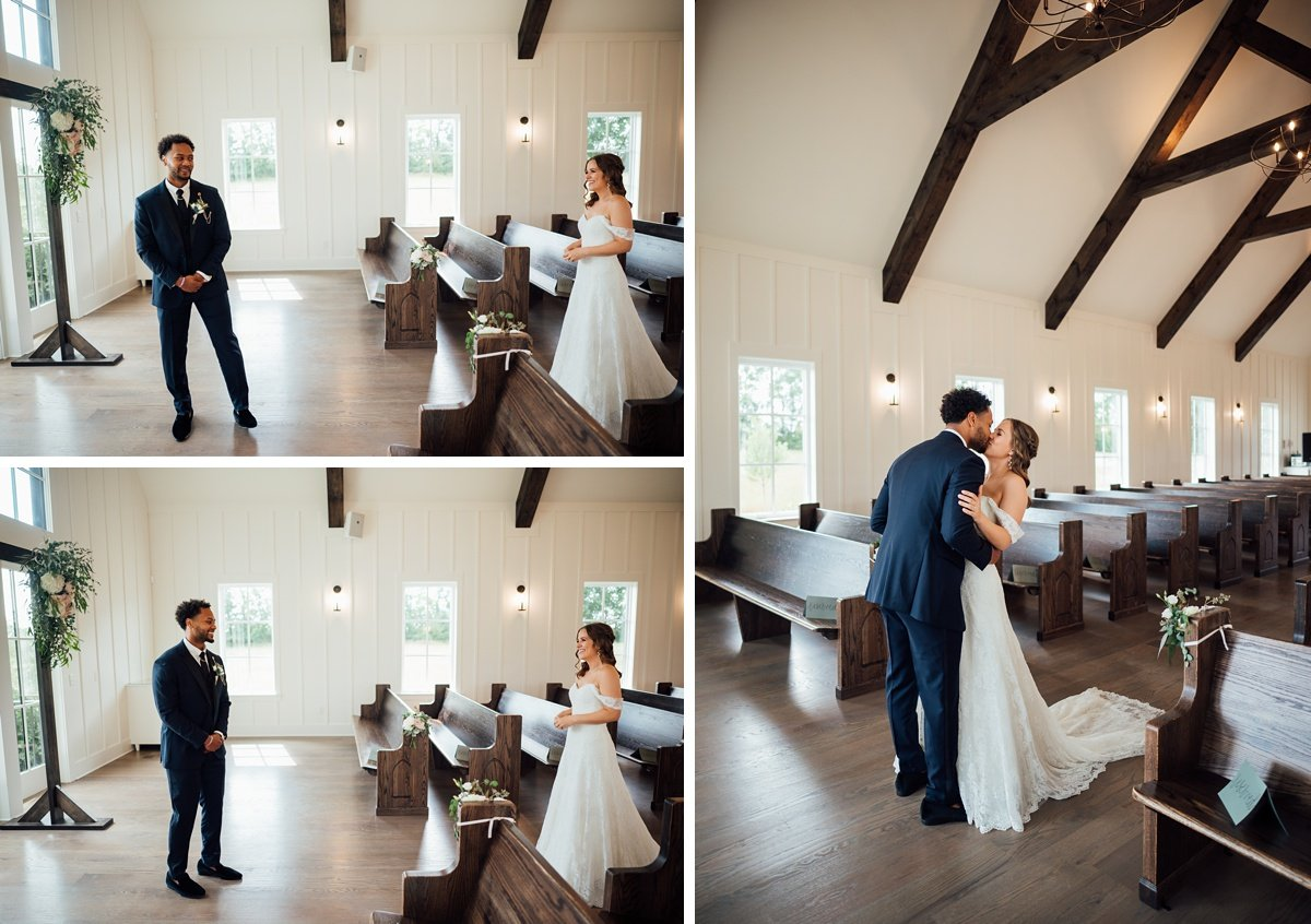 first-look-reaction Jessica + Jethro   The Venue at Birchwood   Spring Hill, TN