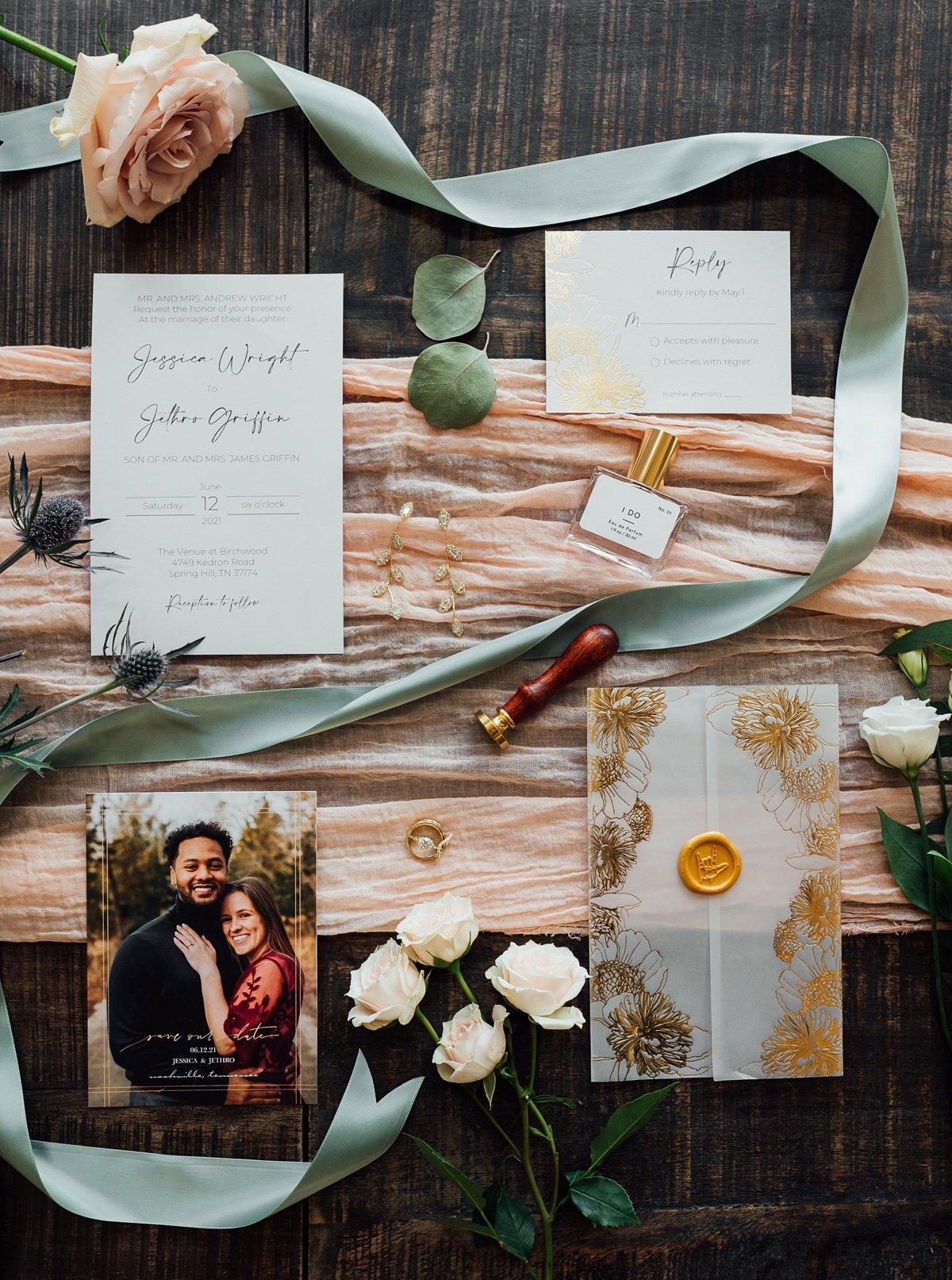 flat-lay-wedding-inspiration Jessica + Jethro | The Venue at Birchwood | Spring Hill, TN