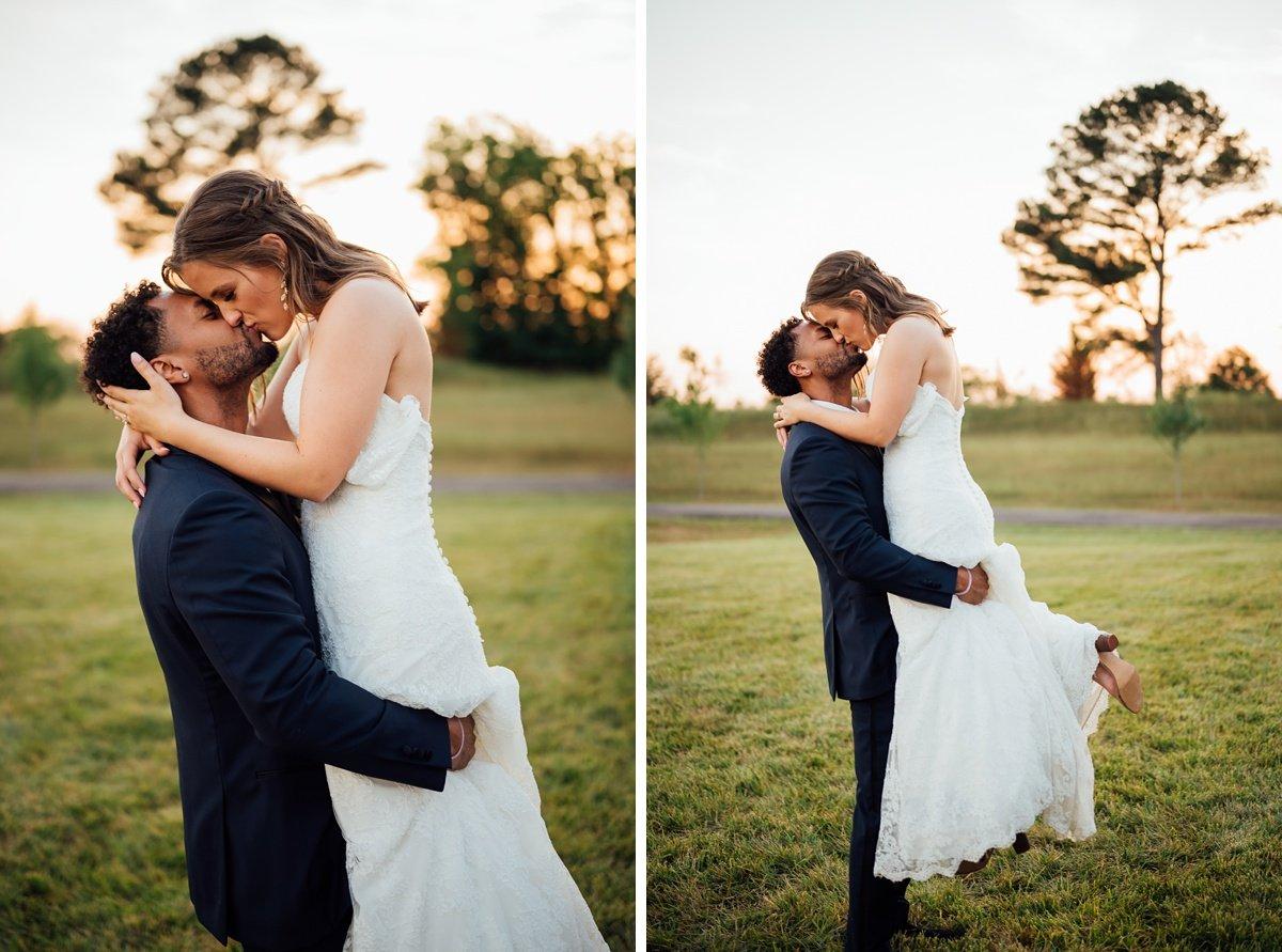 groom-picking-up-bride Jessica + Jethro | The Venue at Birchwood | Spring Hill, TN