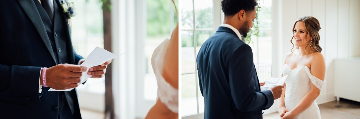 groom-reading-vows Jessica + Jethro | The Venue at Birchwood | Spring Hill, TN