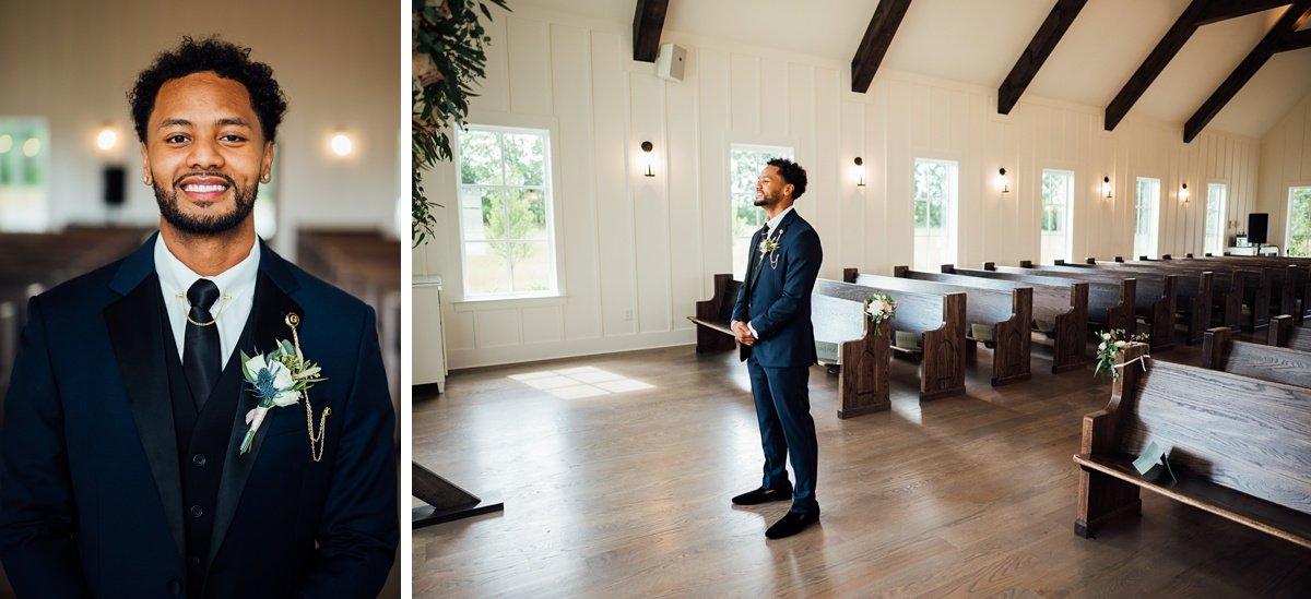 groom-waiting-on-bride Jessica + Jethro | The Venue at Birchwood | Spring Hill, TN