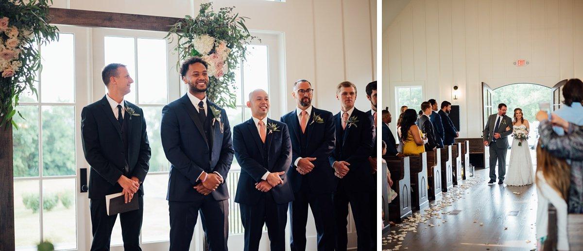 groom-wathcing-bride Jessica + Jethro | The Venue at Birchwood | Spring Hill, TN