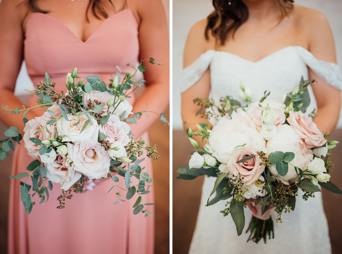 pink-green-wedding-bouquets-inspiration Jessica + Jethro   The Venue at Birchwood   Spring Hill, TN