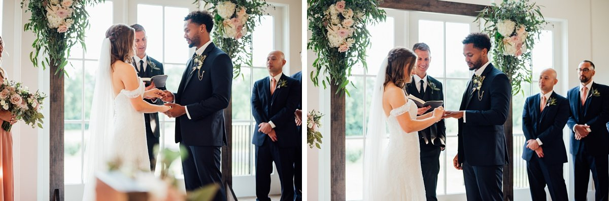 putting-on-rings Jessica + Jethro | The Venue at Birchwood | Spring Hill, TN